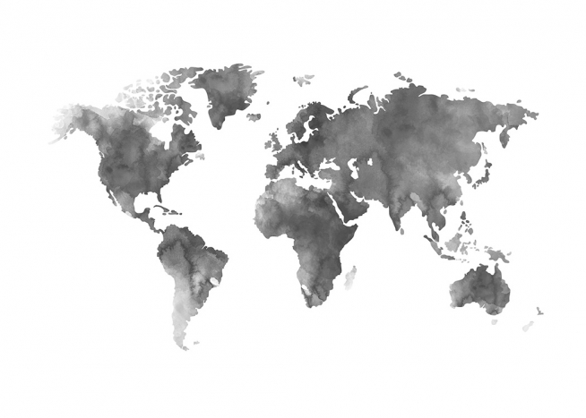 Poster Of Grey World Map Painted In Acrylic, From Desenio