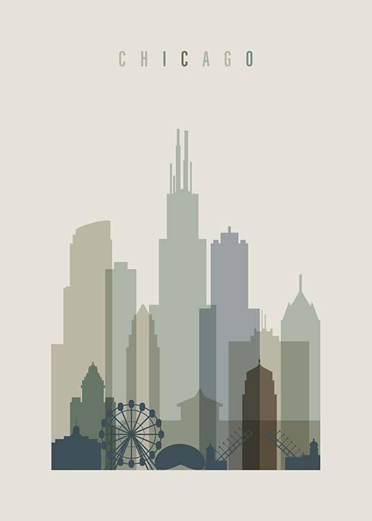 chicago skyline poster