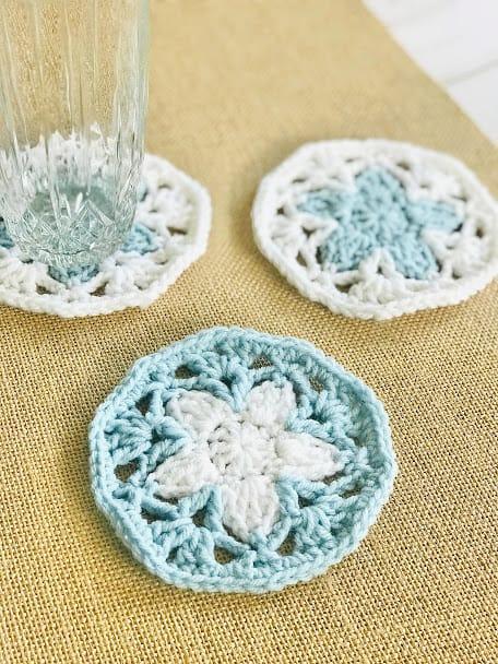 crochet flower coaster Christmas gift