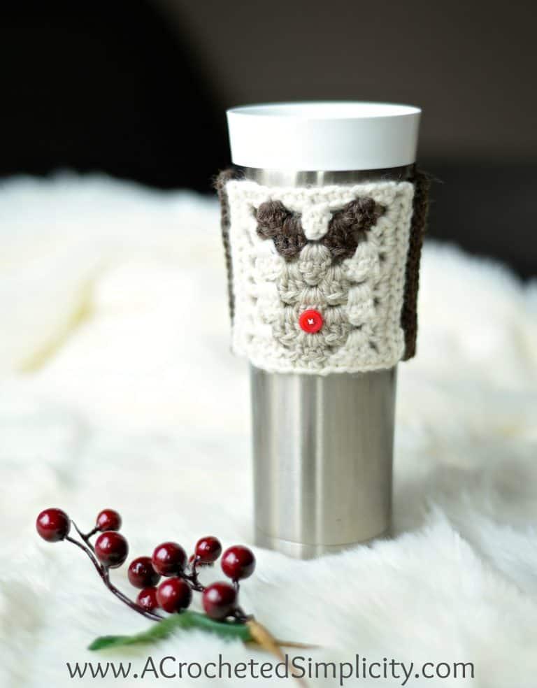 crochet christmas coffee sleeve