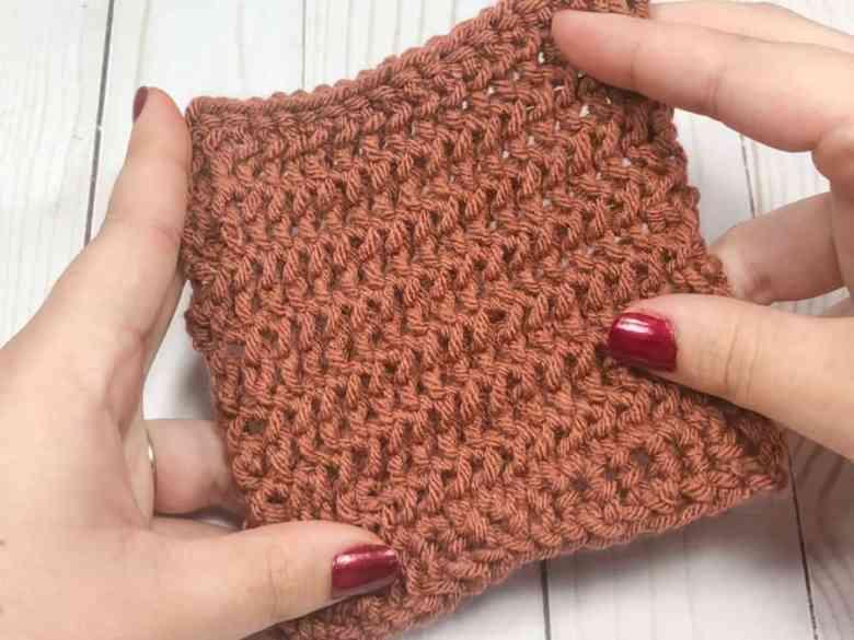 Camel stitch crochet swatch From back