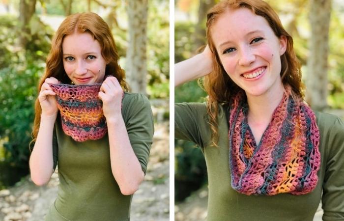 Autumn Leaves Cowl - FREE Lightweight Crochet Cowl Pattern