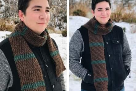 Alpine Stitch Scarf Crochet Pattern for Men