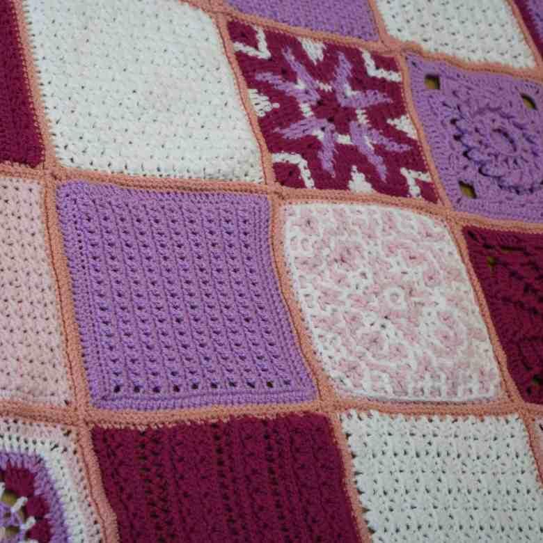 crochet blanket squares up close