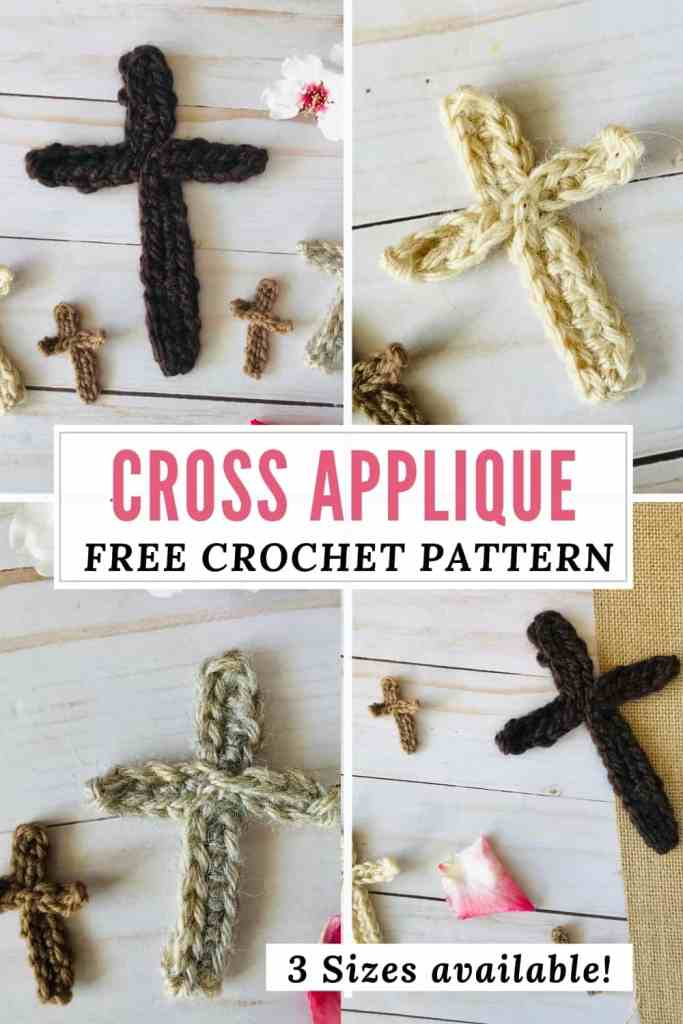 Crochet Cross Applique in 3 Sizes - FREE Pattern