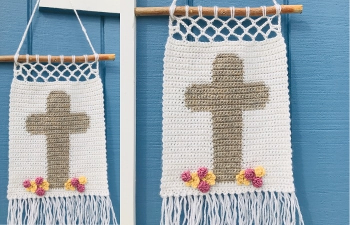 Crochet Easter Cross Wall Hanging - free pattern