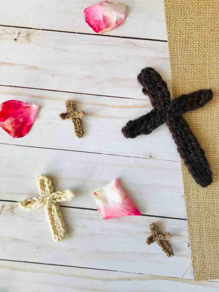 small, medium, and large crochet cross