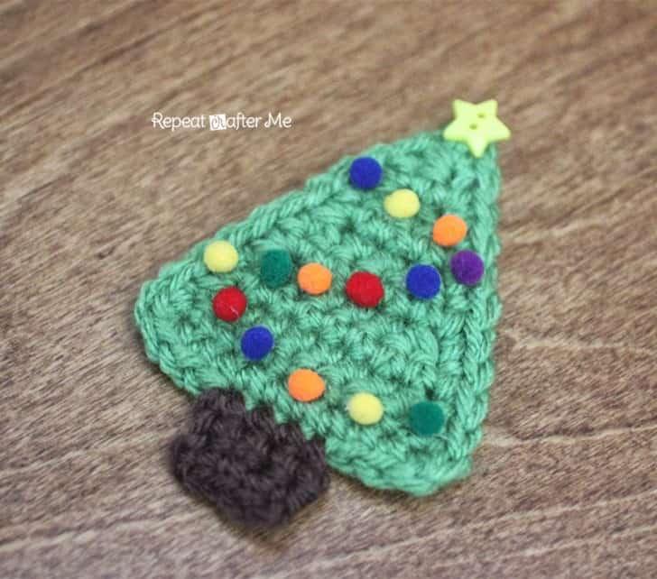 Flat Crochet Christmas Tree Applique