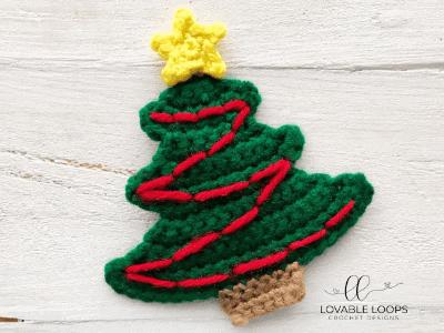 Crochet Christmas Tree Applique Pattern