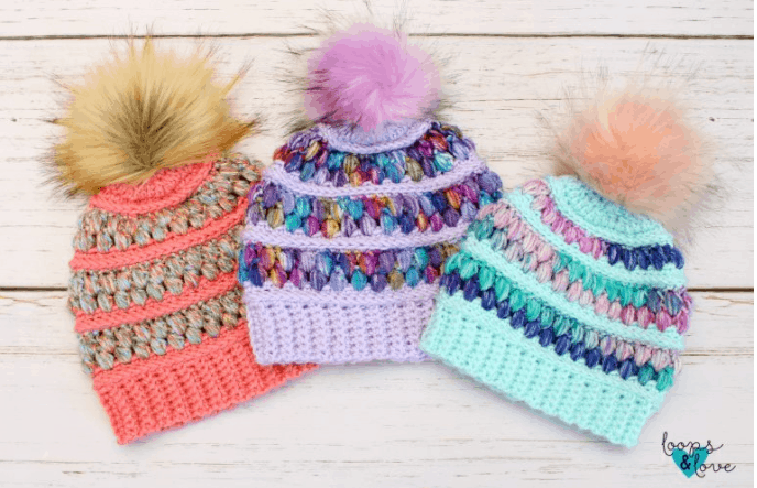 Jelly Beanie with crochet puff stitches