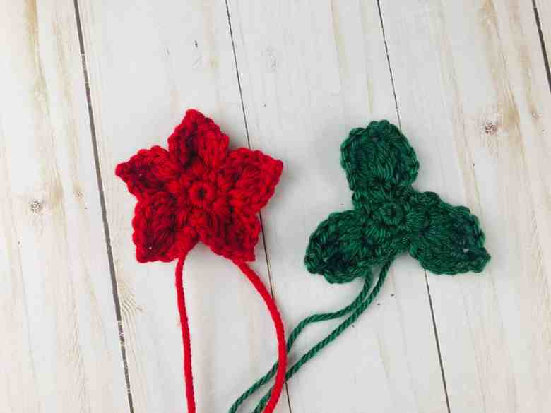 assembling a crochet poinsettia