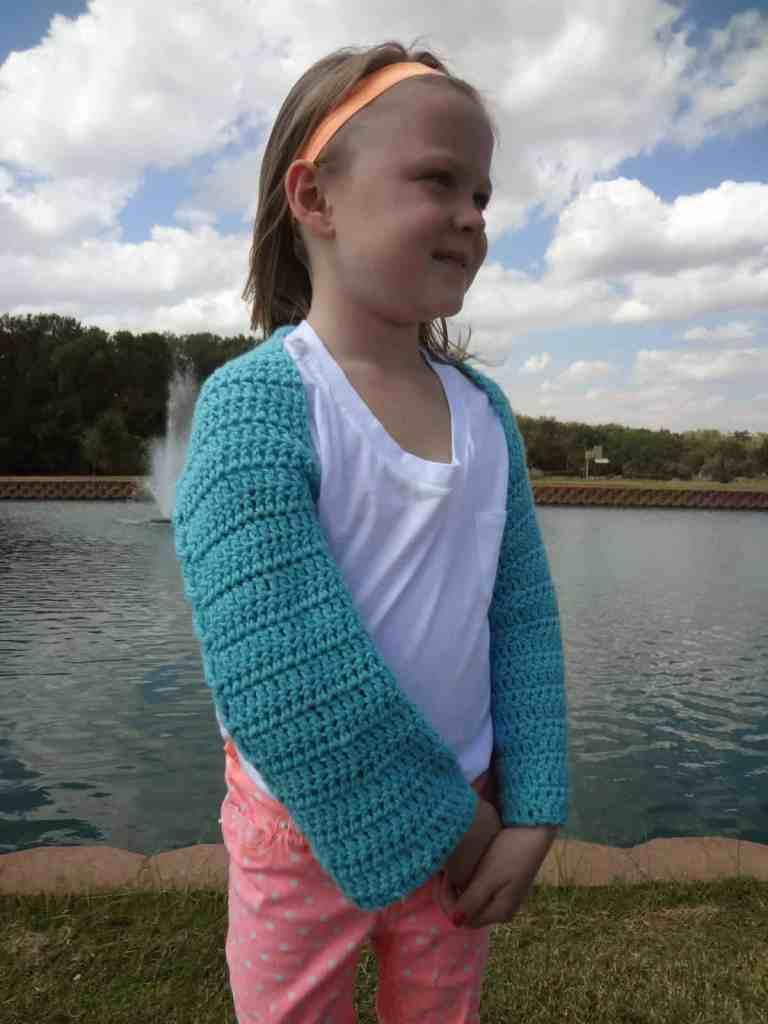 Seashore crochet shrug for children