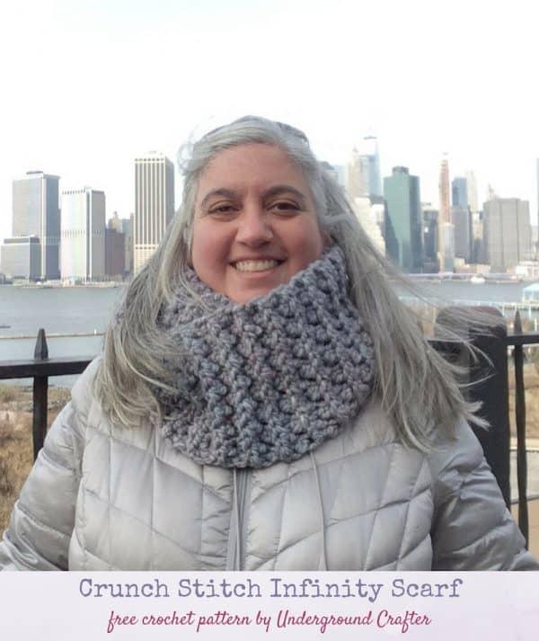crunch stitch crochet infinity scarf