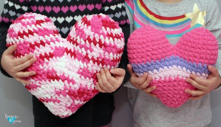 crochet heart pillow pattern
