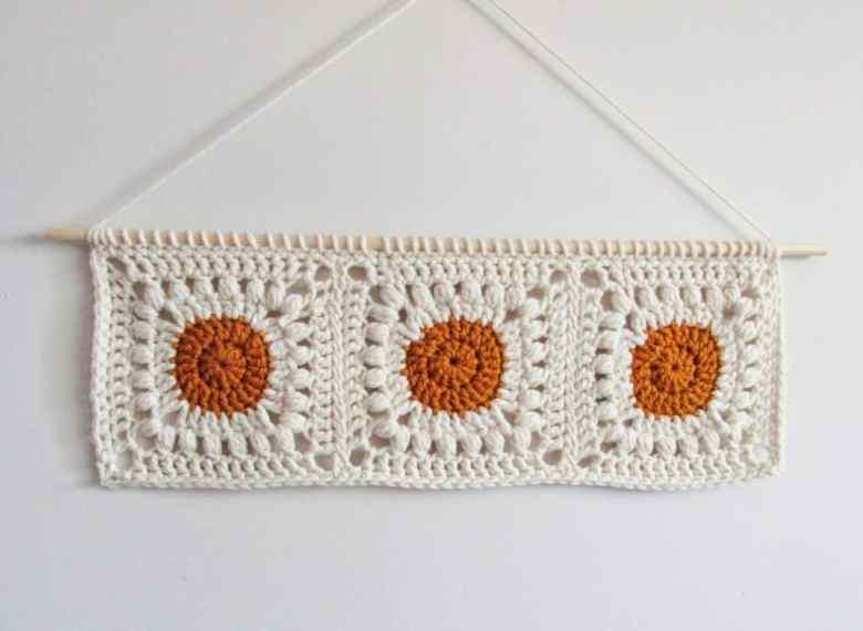 crochet granny square wall hanging