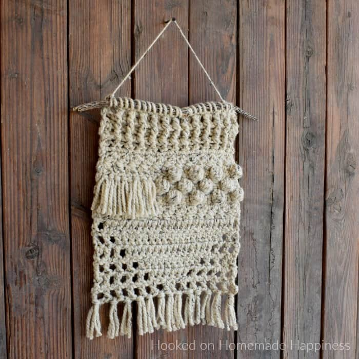 Wool Ease Thick & Quick crochet wall hanging