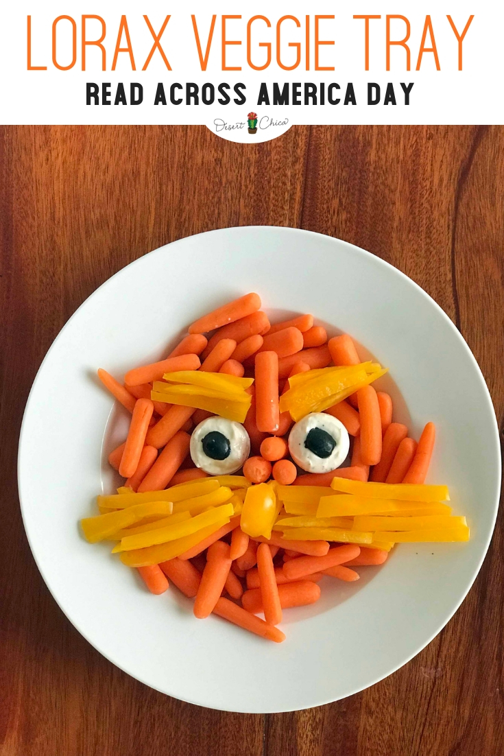 The Lorax veggie tray is a fun veggie tray idea for a Dr. Seuss birthday party or baby shower. It's easy to DIY a fun Lorax and mustache using yellow and orange vegetables. Lorax Food | Dr. Seuss Treats | Dr. Seuss Snacks for School | Dr. Seuss Snack Ideas | Relish Tray Ideas | Vegetable Tray Ideas