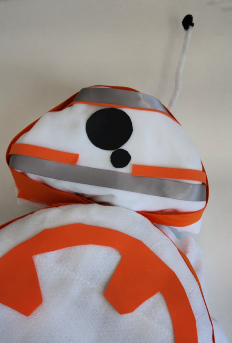 Top view of diaper cake decorated to look like Star Wars droid BB-8