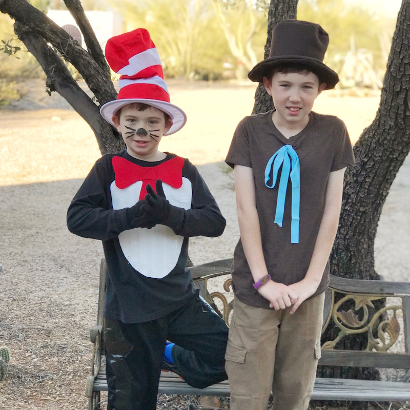 Dr. Seuss Inspired costumes include The Cat in the Hat and Mr. Brown for Book Character Costume Day