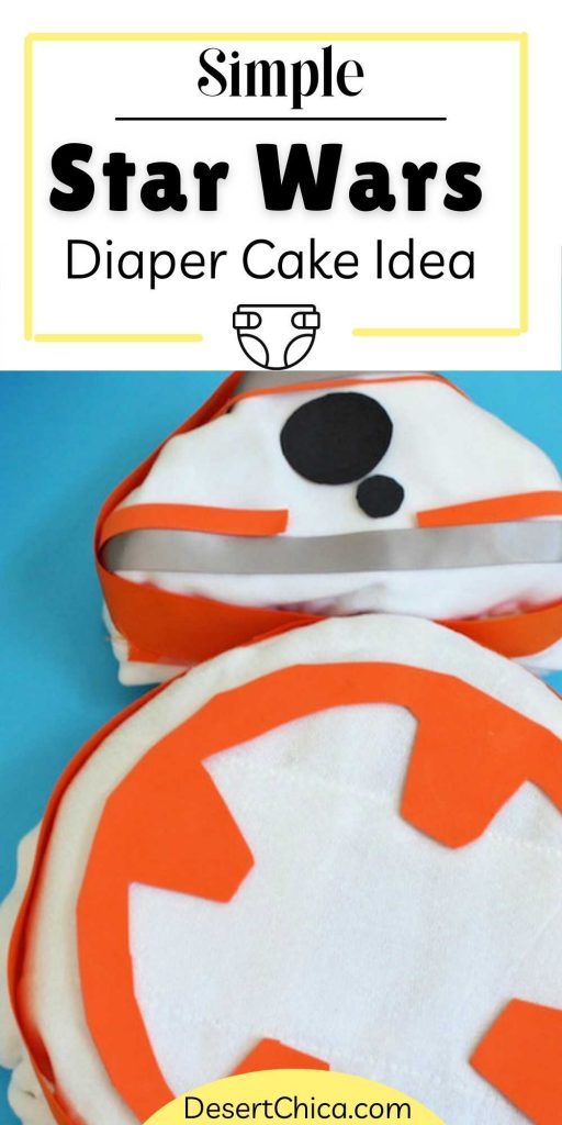 Close up picture of a BB-8 Diaper Cake design