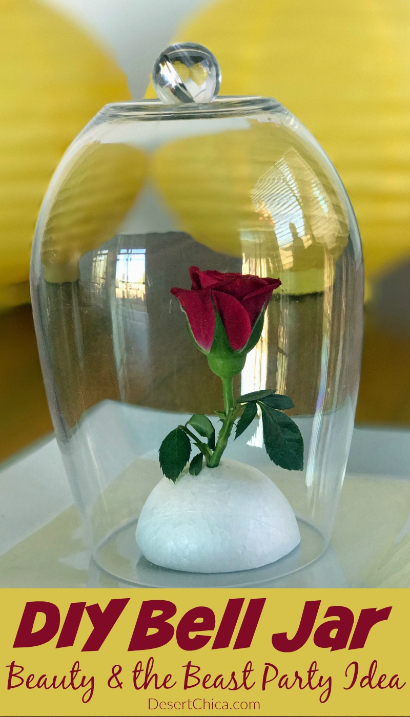 Need a fun Beauty and the Beast party idea? How about making a DIY bell jar to an enchanted rose decoration or make a full set and give them as party favors