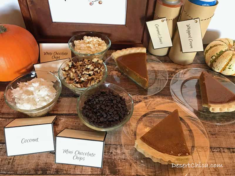 Using cute food labels is another way to make your pumpkin pie toppings bar more festive and decorative