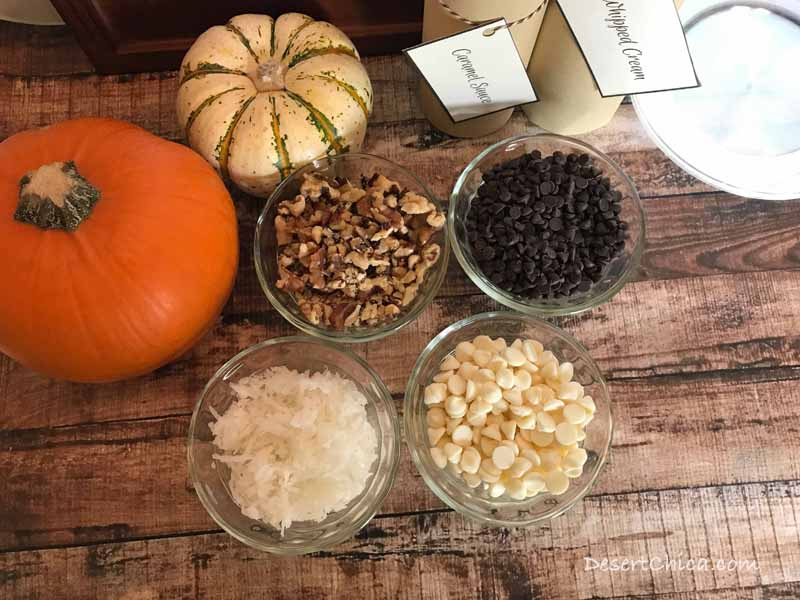 Pumpkin Pie Toppings Bar ideas include chocolate chips, white chocolate chips, coconut and chopped walnuts
