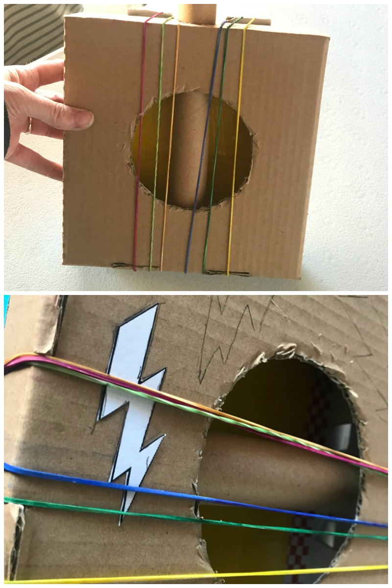 Add 6 rubber bands to your DIY cardboard guitar craft and decorate your disney coco craft