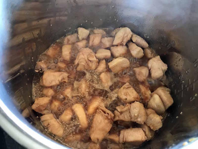 Cook chicken on saute mode for instant pot chicken stir fry