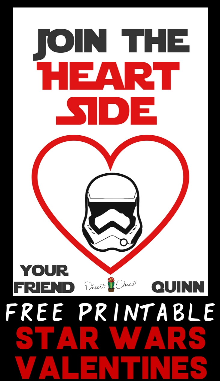 Join the Heart Side with these adorably funny Star Wars Valentine's Day cards. These free printable valentines are perfect for kids that want to DIY their cards by adding candy. Star Wars Valentines Cards | Star Wars Valentines Printable | Starwars Valentines Ideas | Starwars Valentines Cards