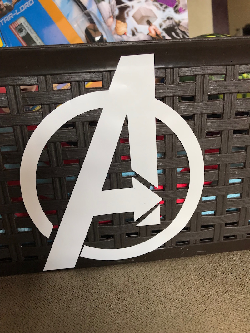 Add a logo to create a DIY Avengers Easter basket