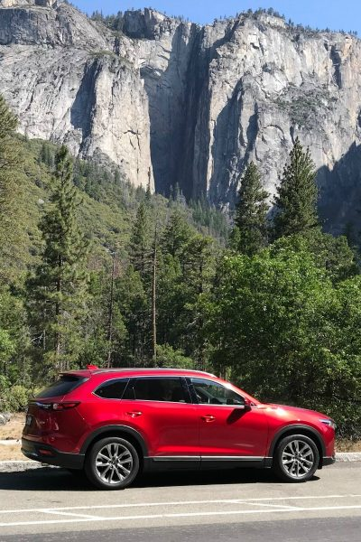 Mazda CX9 in Yosemite Valley on a Yosemite Road Trip