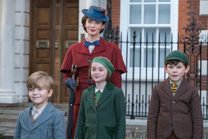 Mary Poppins Returns Pixie Davies, Joel Dawson and Emily Blunt