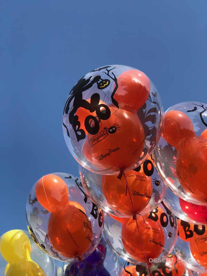 Halloween themed balloons at Disneyland