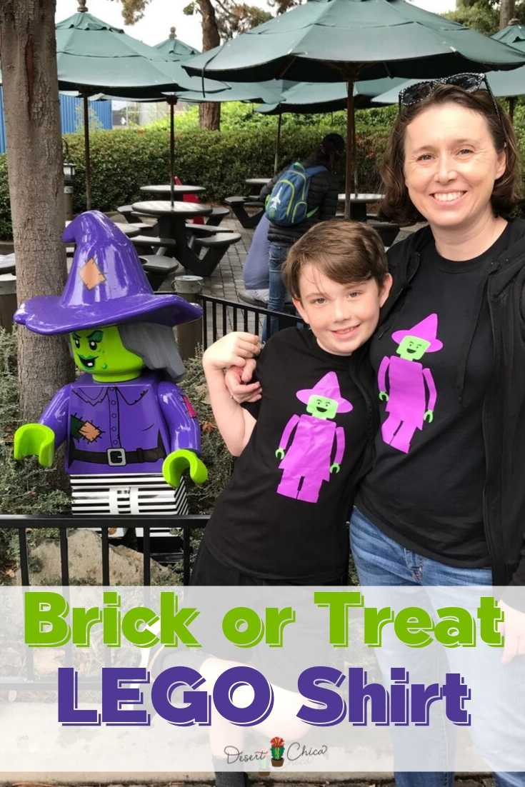 Mom and son wearing LEGO Witch Shirts near LEGO minifigure at LEGOLAND California
