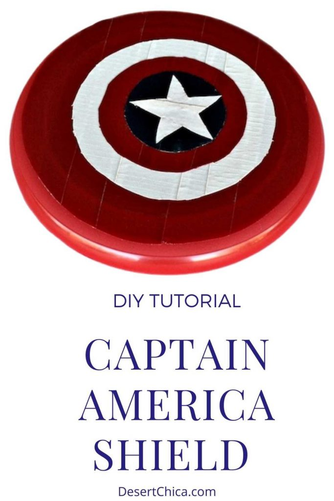 Captain America Shield made from duct tape and a frisbee.
