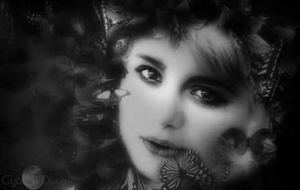 butterfly girl monochrom