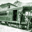 The gasoline combination passenger and express car on the DVRR - Courtesy National Park Service, Death Valley National Park