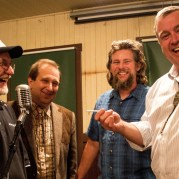 "May 6, 2013. ""Handover of the key"". From left to right, Dr. Bill Adams, Rio Tinto, Henry Golas, VP of the Death Valley Conservancy, Scott Smith, Superintendent of Ryan Camp, and Preston Chiaro, President of the Death Valley Conservancy. (PRNewsFoto/The Death Valley Conservancy)"