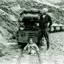"Naming the ""Baby Gauge"" Supt. Harry P. Gower and Mary Lillian Gower 1926 - Courtesy National Park Service, Death Valley National Park"