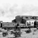 Tonopah & Tidewater combination train at Ludlow, terminus of the line connecting with Santa Fe RR - Courtesy National Park Service, Death Valley National Park