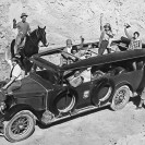 Al Riddle driving Union Pacific RR bus 1930 - Courtesy National Park Service, Death Valley National Park