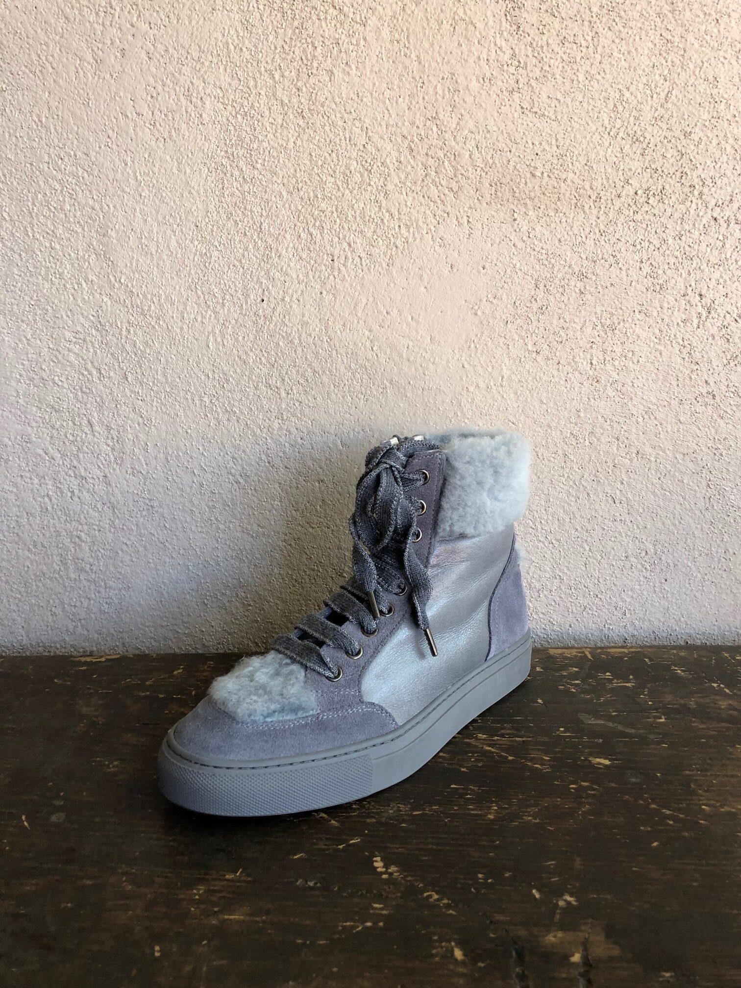 Lorena Antoniazzi Grey shearling sneaker boot