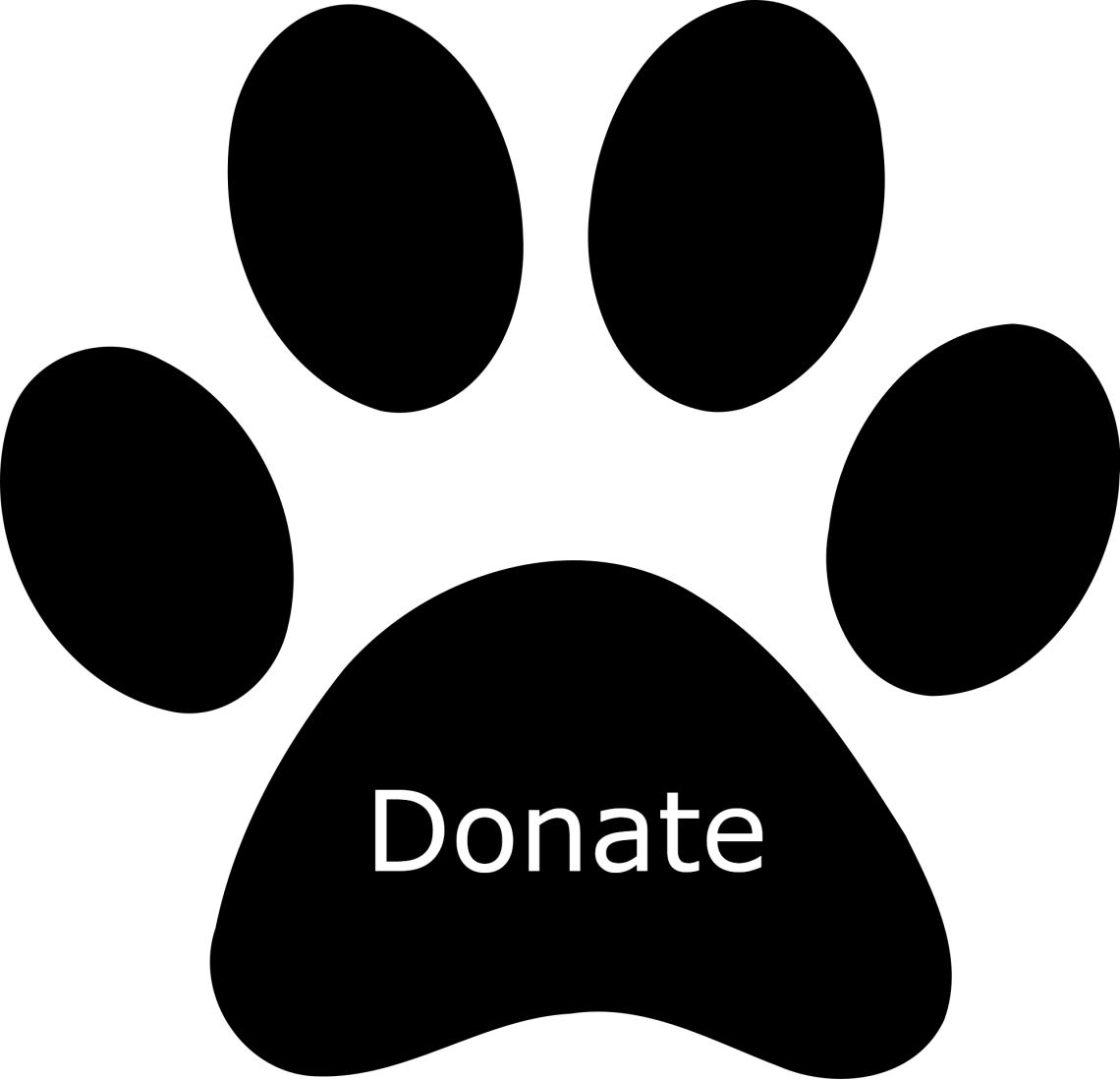 "paw print with the word ""donate"" on it"