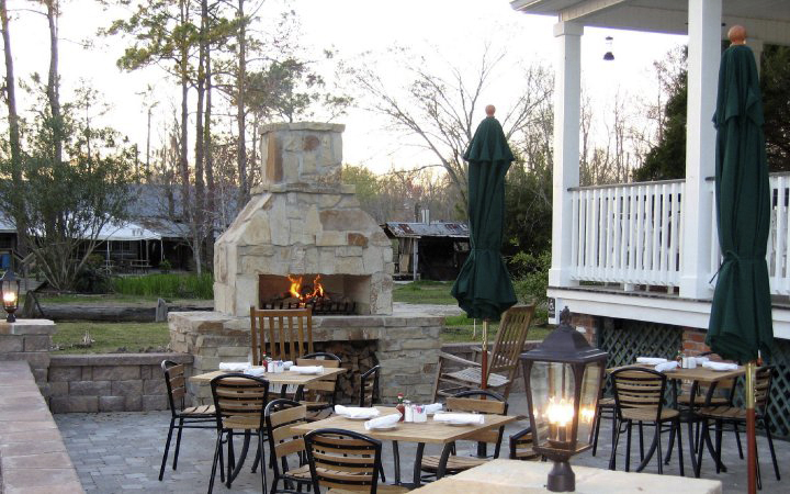 Courtyard Stone Fireplace