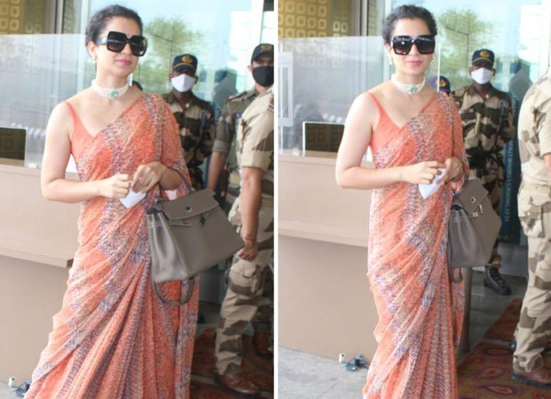 Kangana Ranaut leaves for Manali after testing negative for COVID-19; dons orange saree at the airport : Bollywood News