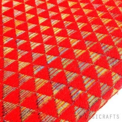 Hand embroidered Red Phulkari on Pure Silk Fabric