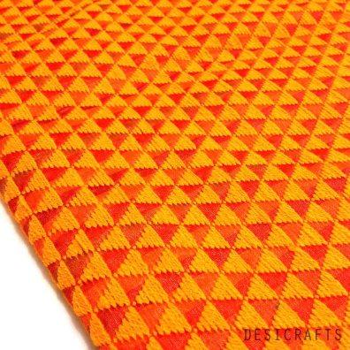 Hand embroidered Sunny Yellow and Orange Phulkari on Pure Silk Fabric