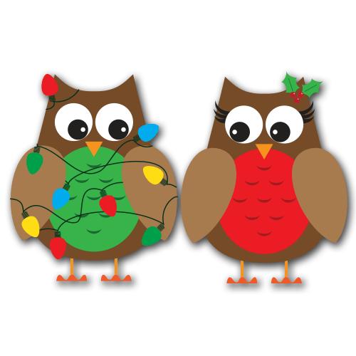 Christmas Owls Clip Art SVG