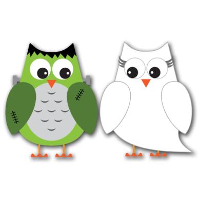 Spooky Halloween Owls Clip Art SVG